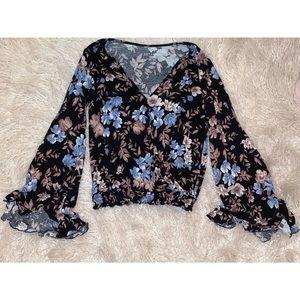 Black Flowery Long Sleeve Top